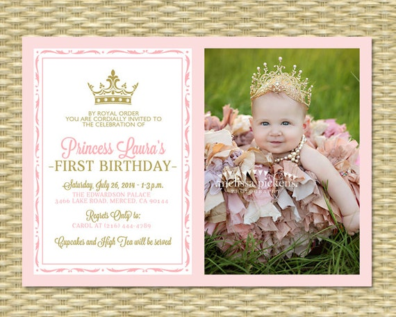 Pink and Gold Princess First Birthday Invitation Photo Card – Pink 1st Birthday Invitations