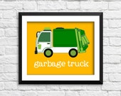 garbage truck art print, garbage truck decor, construction art print, construction decor, baby boy bedroom wall art, nursery art print