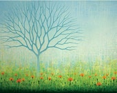 Blue Tree Orange Flowers Nature Green Landscape Wall Art Print by Ashevile Artist Jennifer Barrineau from a Large painting titled Cosmosis