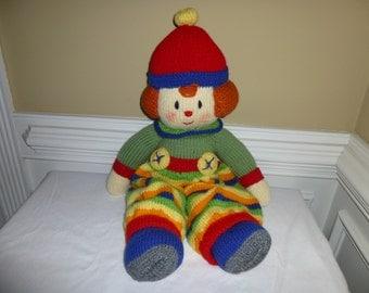 Hand Knit Clown - Soft Plush Doll - Toy
