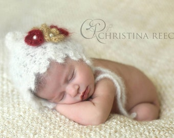 Crochet Mohair Newborn Pixie Hat, Baby Bonnet, Photography prop --- Made to order