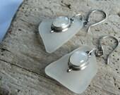 Sea Glass and Moonstone Earrings