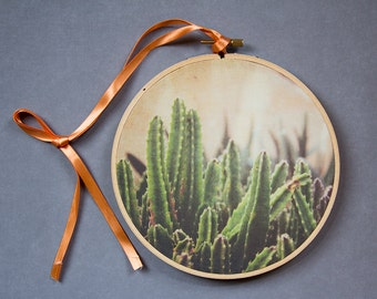 Photography Hoop Art, Cactus Photograph, Modern Textile Art, Embroidery Hoop Decor, Hanging Wall Art, Fabric Wall Art, Photo on Fabric