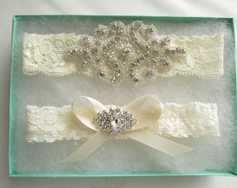 SALE Wedding Garter Set -crystal and Rhinestone Garter Set on a Stretch Ivory Lace Garter Set -