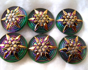 Czech Glass Buttons   6 pcs   Gorgeous 24K gold    22mm     IVA 092