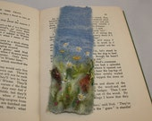 Embroidered and Felted Recycled Bookmark - Wild Flower Meadow