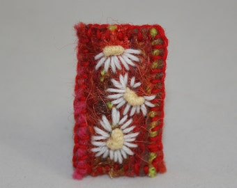 Embroidered and Felted Brooch - White daisies on red
