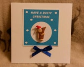 Ratty Rat Christmas Card.  Handmade and decorated with a Fimo Ratty Rat