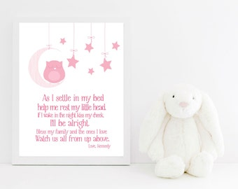 Nursery Decor Bedtime Prayer with Sleeping Owl  - Owl Nursery Decor