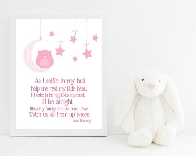 Nursery Decor Bedtime Prayer with Sleeping Owl  - Owl Nursery Decor