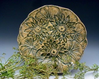 Lotus Flower Plate Stoneware Pottery Botanical Green Organic Zen Gift for a Gardener Natural Mother's Day