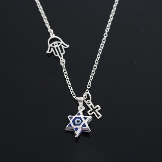 Eye Evil Necklace Evil Eye and Hamsa Necklace Sterling by ...