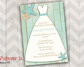 Starfish Wedding Dress Bridal Shower Invitation