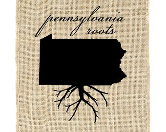 Pennsylvania Roots Unframed Wall Art, Burlap Prints, Burlap Art, Custom state roots, State outline
