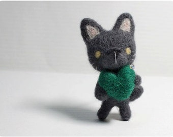 Jess Cat - blue cat, cat needle felted wool brooch, crystal bead