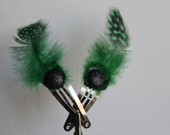 Green Feather Hair barrette with black glitter button accent