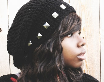The Over Studded Crochet Slouchy Hat.