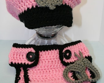 Newborn Police Hat and  Diaper Cover