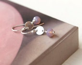 Lilac Crystal Earrings Tiny Silver Earwires Everyday Jewelry