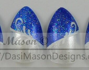 Blue and White Stiletto Arabesque Instant Acrylic Nail Set