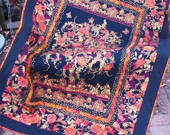 Lap Quilt, Sofa Quilt, Quilted Throw - Tree of Life in Orange and Black Lap Quilt