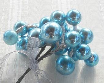 Vintage Mercury Glass Ornaments, Set of 2, Wedding Decor, Sprays, Clusters, Gift Wrap