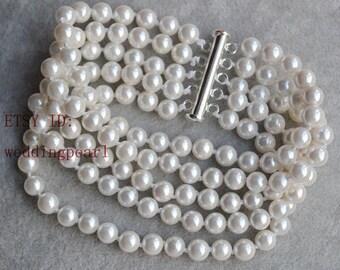 five strands pearl bracelet, Off white pearl bracleet,round shell pearl bracelet, bridesmaid bracelet, bride wedding bracelet
