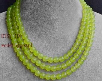 light green jade Necklace,wedding necklace,  jade necklace, 3 strands grapey green necklace, stone necklaces, round jade necklace