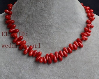 red coral necklace, 16 inches simply coral necklace, red necklace, real drop coral necklace, semi-precious stones necklace, wedding necklace