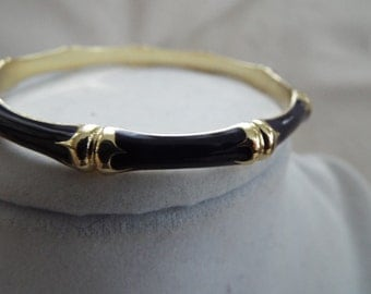black on gold bamboo relief  enamel bangle bracelet one of four