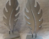 Bookends Silver Feathers Wood Accent Decorative