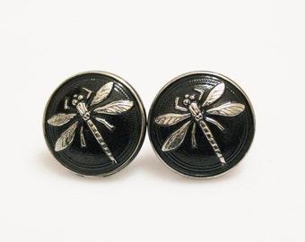 Black Dragon Fly Stud Earrings, Czech Glass Earrings, Black Silver Earrings