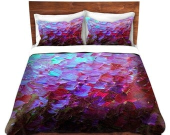 MERMAID SCALES Deep Purple Art Duvet Covers King Queen Twin Aubergine Violet Plum Turquoise Ombre Home Decor Bedding Modern Colorful Bedroom