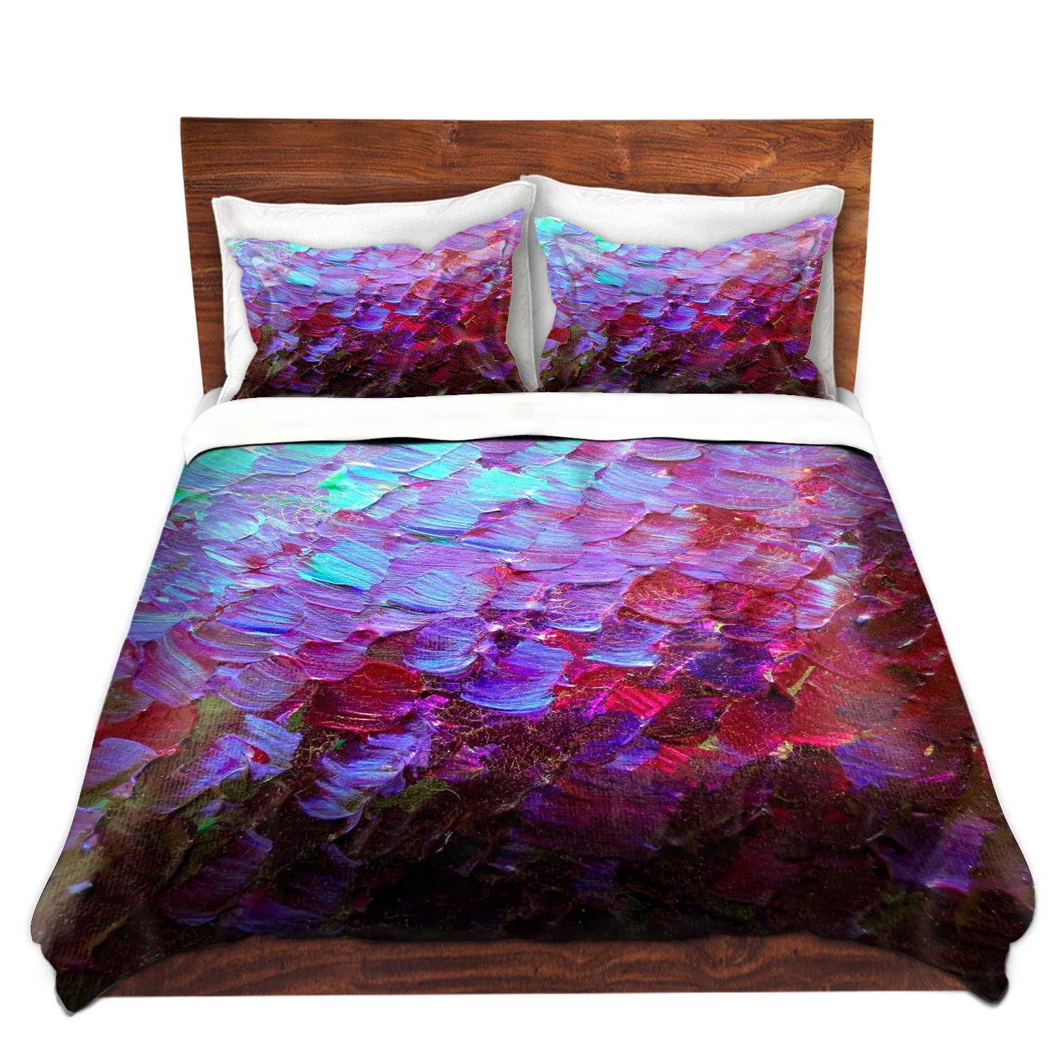 Mermaid Scales Deep Purple Art Duvet Covers Queen Twin