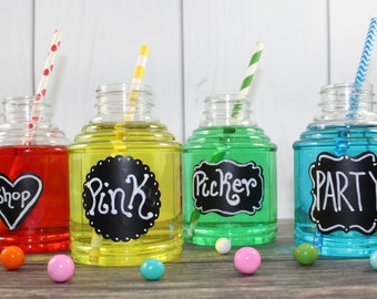 10 Plastic Drink Bottles with Chalkboard Labels, Juice Bottles, Birthday Parties, Milk bottles, -