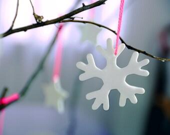 Minimal christmas decoration, porcelain snowflakes, elegnat window decoration, No2