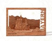 postcard wood - Bavaria, three-card-set