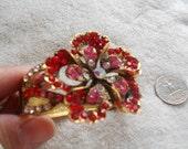 High Fashion-Goldtoned Designed Crystal Rhinestone Clamper Bangle-Red Flower