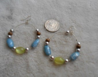 Vtg RETRO Pierced Earrings- CatsEye Beaded Hoops- R3784