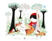 Children's poster : the meeting - kids wall art - kids poster - red riding hood illustration