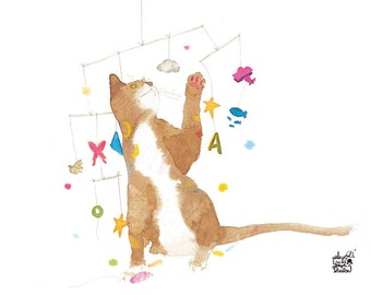 Children's poster : playing cat - kids wall art - kids poster - cat illustration