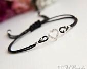 CZ Heart Bracelet With Black Cord, Sterling Silver, Adjustable, Bright  Jewelry, Friendship Bracelet, Minimalist, Valentine's Day Gift
