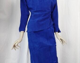 80s Spitalnick cobalt blue 2 piece suede skirt + top/ high waist pencil skirt/ asymmetrical suede top: US size 6-8