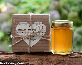 Set of 35 - Honey Favors for Weddings, Bridal Shower, Baby Shower, Personalized Favors: Honey Jars in Kraft Gift Boxes