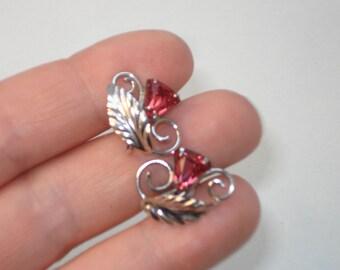 Vintage Sterling Silver Bond Boyd Earrings -  Rhinestone Flower Costume Jewelry 1960s