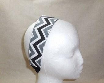 Pretty Black, Gray and White Chevron Fabric Headband