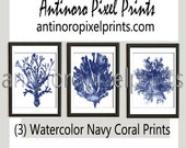 Coastal Cool Watercolor Navy Indigo Coral Poster Pictures, Set of (3) 16x20 Custom Colors Available (Unframed) #234271974