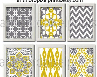 Yellow / Mustard Greys White Wall Art Vintage / Modern inspired Collection  -Set of (6) - 8x10 Prints - Featured in Yellow / Grey (UNFRAMED)