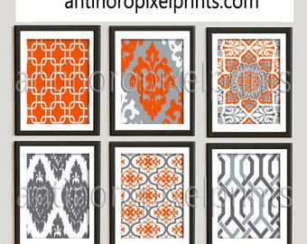 Wall Art Orange Grey White Modern inspired Prints Collection -Set of 6 - 8x10 Prints - Featured in Orange Yellow Grey (UNFRAMED)