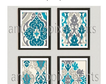 Turquoise Teal Khaki Beige Grey background kat Damask Pictures  -Set of (4) 8x10 Wall Art Prints -  (UNFRAMED) Custom Colors Sizes Available